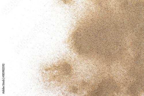 Pile desert sand isolated on white background, top view