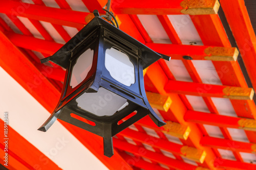 Fotobehang Kyoto Japanese Lamp Decoration in Red Shrine or Temple in Japan