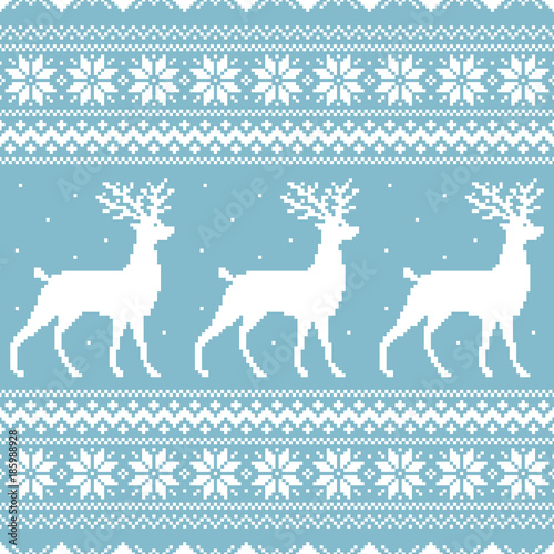Fotobehang Hipster Hert Christmas blue knitted winter sweater vector seamless pattern ornament with pixel art deer