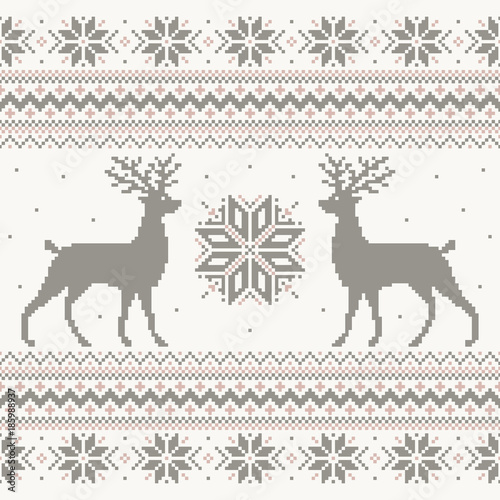 Fotobehang Hipster Hert Beautiful vector Christmas knitted sweater nordic ornament design with pixel deer