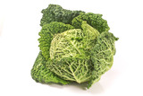 Savoy cabbage head isolated on white