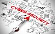 """Englischer Slogan """"Cyber Security"""" (Cyber-Sicherheit) mit Icons und Pfeil"""