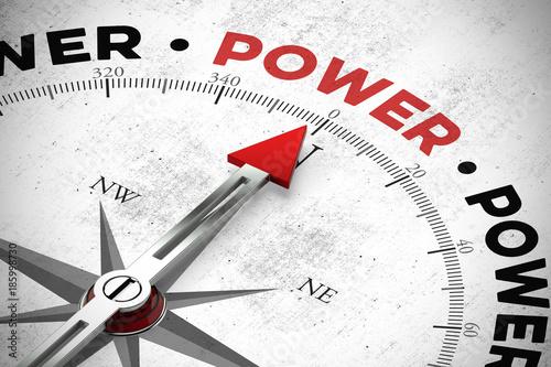 Foto op Canvas Snelle auto s Pfeil zeigt auf das Wort Power / Macht