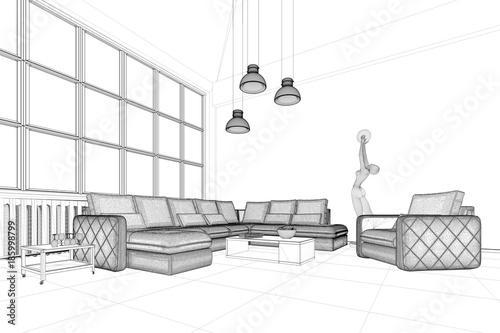 Planung von Wohnzimmer mit CAD Entwurf