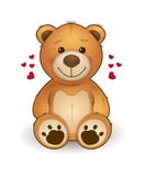 Funny cartoon teddy bear for greeting card on st. Valentine's day, wedding, birthday - 186000349