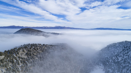 fog in the mountains, clouds and hazy weather