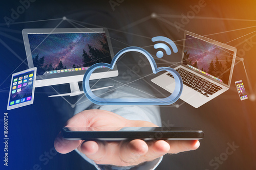 Foto Murales Devices like smartphone, tablet or computer flying over connected cloud - 3d render