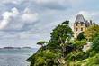 Old castles on seaside in Brittany, autumn, cloudy weather