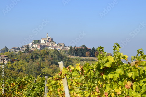 Panoramic autumn view of the Monferrato, near Calosso, Piedmont, Italy. Photo of 15 October 2017 at 15:00