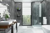 Modernes Badezimmer in weiß und schwarz mit Dusche, Badewanne, WC, Bidet und zwei Waschbecken mit einem großen Spiegel - 186005372