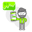 Simple flat stylistics adaptation to corporate style. Icon message man shows mobile phone message positive cash money shares