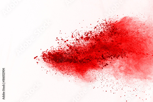 abstract powder splatted background. Red powder explosion on black background. Colored cloud. Colorful dust explode. Paint Holi. - 186012904