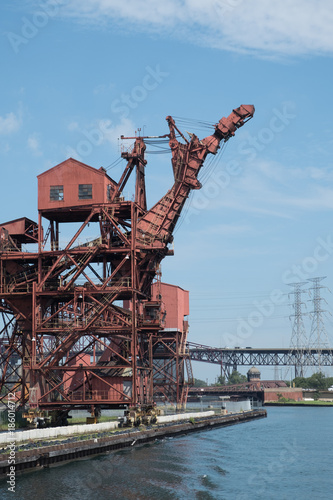 Poster Chicago Industrial crane on river