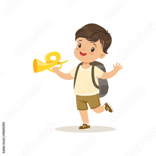Cute little boy in scout costume blowing horn, outdoor camp activity vector Illustration - 186015910