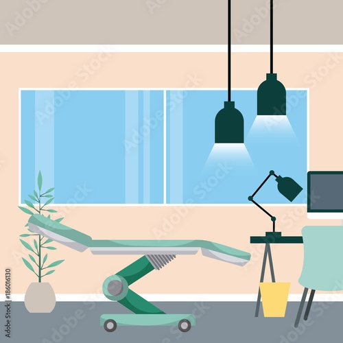 Wall mural medical room bed desk lamp trash can and potted plant vector illustration