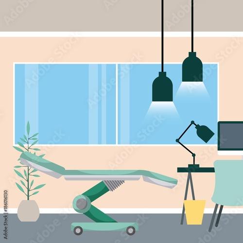 medical room bed desk lamp trash can and potted plant vector illustration