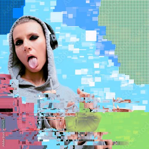 Deurstickers Kapsalon Tomboy Girl in stylish headphones. Clubbing DJ vibes Glitch art