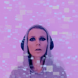 Girl in stylish headphones. Clubbing Dj Vibes Contemporary Glitch art - 186016323