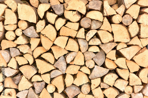 Poster Brandhout textuur Old firewood for the fireplace.Wooden texture. Preparation of wood. Folded firewood. Firewood.