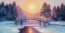 """Постер, картина, фотообои """" little bridge and snow covered landscape"""""""