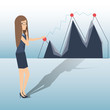 Business woman shows to growing line chart