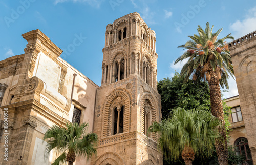 Plexiglas Palermo View of the baroque facade with the Romanesque belltower of Santa Maria dell'Ammiraglio Church known as Martorana Church, Palermo, Italy