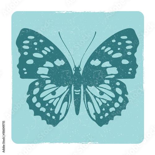 Foto op Aluminium Vlinders in Grunge Grunge butterfly silhouette vector emblem
