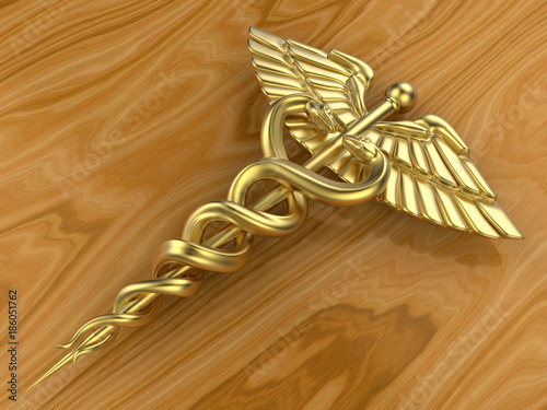 3d Golden Medical Symbol With Two Snakes Buy Photos Ap Images