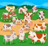 flock of cows farm animal characters group