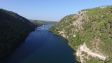 Aerial shot of a river in Krka National Park in Croatia - 186066306
