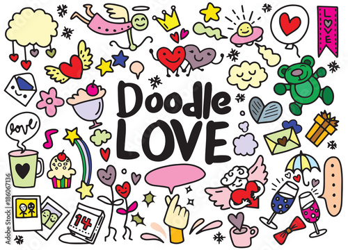 Cartoon vector hand drawn Doodle Love illustration. vector illus