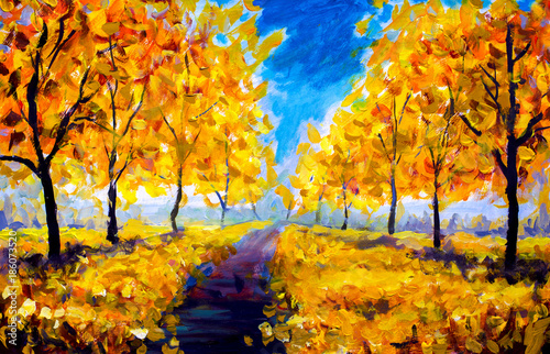 oil-painting-autumn-yellow-foliage-park-autumn-trees-blue-sky