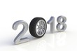 New year 2018 with car's wheel, White year number isolated on white background, 3D rendering