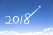 happy new year 2018 and business growth concept by cloud