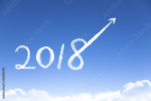 Foto Murales happy new year 2018 and business growth concept by cloud