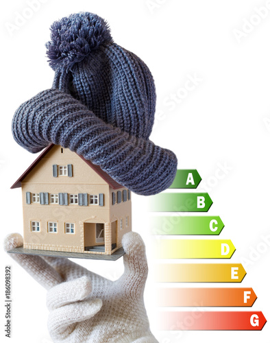 Energy efficiency label for house / heating and money savings - model of a house Poster