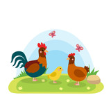 Farm animals with landscape - cute cartoon vector illustration with hen, chicken and rooster