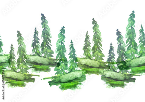 Fotobehang Olijf Watercolor seamless linear border, drawing - forest landscape, spruce, pine, slope. green on a white background.