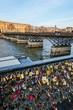 Locks on Paris bridge near Seine river on January 1, 2015 in Paris, France.