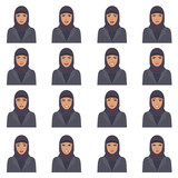 vector illustration of a arabic face expressions, set of a different muslim face expression, cartoon  arab character, saudi avatar  - 186120770