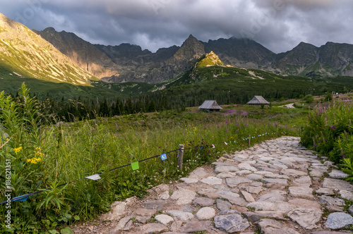 A beautiful mountain trail in the Gasienicowa valley. Tatra Mountains. Poland