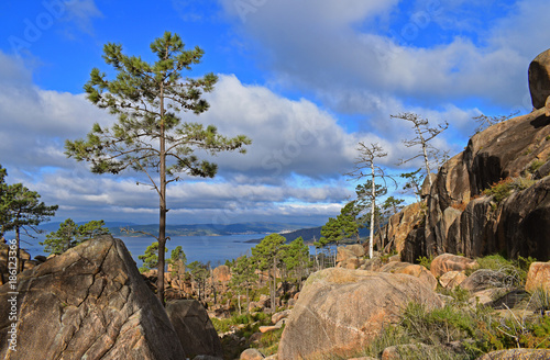 Landscape from mountain with views of the coast