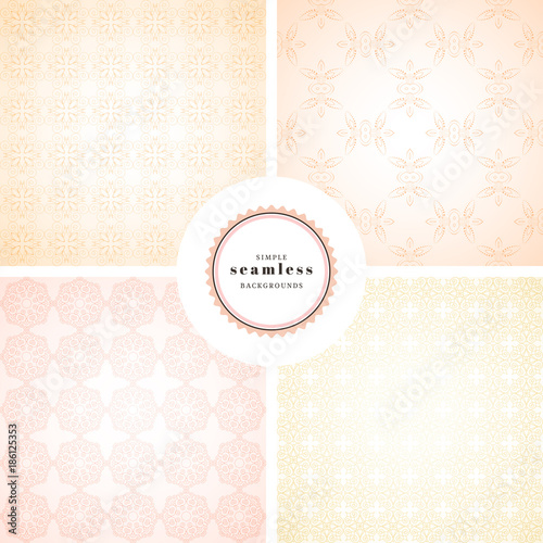 Vector set of four simple seamless backgrounds. Gentle colors. - 186125353
