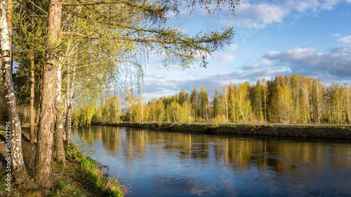 весенний пейзаж на Уральской реке, Россия, Урал - 186132196