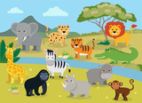 Wild animals with landscape - cute cartoon vector illustration of crocodile, rhinoceros, elephant, giraffe, leopard, tiger, zebra, monkey, lion, hippo, monkey