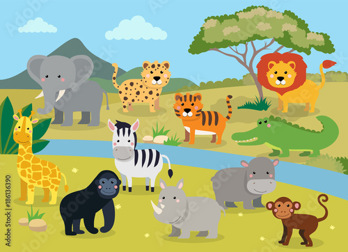 Fototapeta Wild animals with landscape - cute cartoon vector illustration of crocodile, rhinoceros, elephant, giraffe, leopard, tiger, zebra, monkey, lion, hippo, monkey