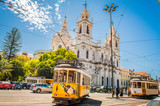Yellow tram 28 on streets of Lisbon, Portugal - 186145141