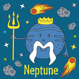 Cartoon funny Neptune - vector illustration, eps  - 186150740