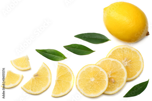 healthy food. sliced lemon with green leaf isolated on white background top view - 186151376