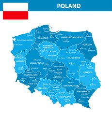 Poland Regions Cities Blue Shades
